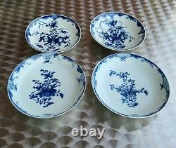 SET OF 4 WORCESTER EARLY PERIOD DR WALL TEA SAUCERS MANSFIELD PATTERN c1770