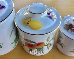 SET of 3 Royal Worcester Fine Porcelain EVESHAM GOLD Lidded Canisters 9 7.5 6