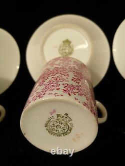 SIGNED ROYAL WORCESTER CHOCOLATE SET With PEDESTAL TRAY & FOUR CUPS CIRCA 1903