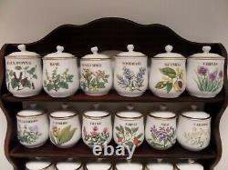 Set 24 of Royal Worcester Herb and Spice Lidded Jars with Kemden Wood Rack