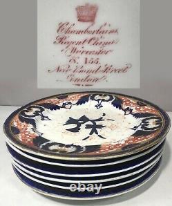 Set 6 Imari Dinner Plates Chamberlain's China Worcester Bond St pre Victorian