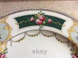Set 7 antique Royal Worcester hand painted floral basket swag garland RARE plate