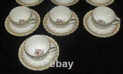 Set Of 10 Royal Worcester Fine Bone China Cromwell Pattern Cup And Saucer Set