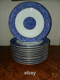 Set Of 12 Antique Royal Worcester For Tiffany And Co Dinner Plates Blue Floral
