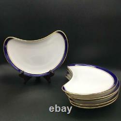 Set Of 6 Rare Royal Worcester Howard Cobalt Crescent Salad Plates Ch6081