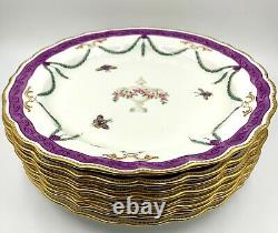 Set Of 8 Rare 1902 Royal Worcester Lunch Plates W577 Mortlock's Oxford St