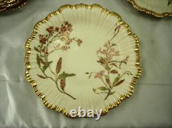 Set Of 8 Royal Worcester 1891 Blush Ivory Floral Plates 1416 Wide Gold