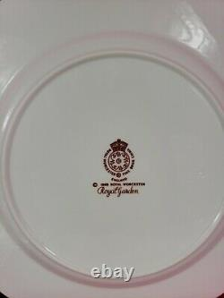 Set for 4 Royal Worcester Royal Garden TRIOS (Cup/Saucer/Plate)Pink/White Rose