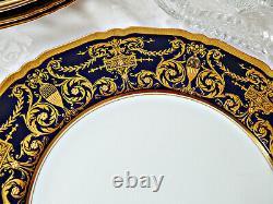 Set of 10 Premium Royal Worcester Cobalt Blue Service Plates, Raised Gold c. 1923