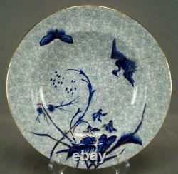 Set of 10 Royal Worcester B866 Cobalt & Gold Birds Chintz Flowers Soup Plates