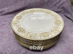 Set of 12 Gold Pompadour Royal Worcester Bone China Dinner Plate 10 1/2 England