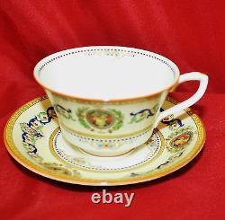 Set of 12 Royal Worcester Empire Mustard Porcelain Cups & Saucers