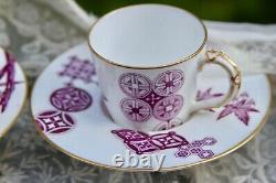 Set of 4 Antique Royal Worcester Trembleuse Cup Japonisme Purple