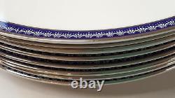 Set of 4 Dinner Plates 10-3/8 Royal Worcester Avalon Platinum Rim Bone China