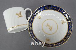 Set of 4 Flight Worcester Cobalt Blue & Gold Thistle Coffee Cans C. 1792 1807