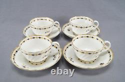 Set of 4 Flight Worcester Cobalt & Gold Floral & Diamond Tea Cups & Saucers