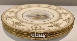 Set of 4 RARE 1933 Royal Worcester Dinner Plates Gold with Hand-Painted Castles