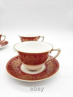 Set of 4 Royal Worcester Pompadour Red and Gold Cups & Saucers