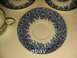 Set of 5 Blue & White Royal Worcester Tea Cups & Saucers Abram French Boston