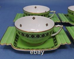 Set of 6 1936 Royal Worcester Art Deco Demi-Tasse Cups & Saucers, Patterm 1544