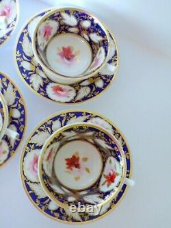 Set of 6 Antique Royal Worcester Cobalt Blue Roses Cups & Saucers