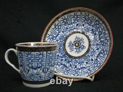 Set of 6 C. 1770 Dr. Wall Period Lily Pattern Coffee Cans & Saucers (112)