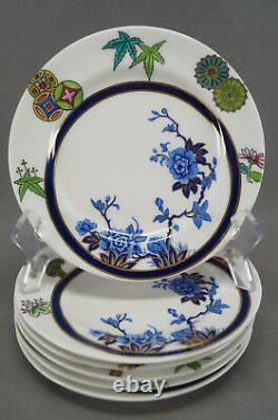 Set of 6 Royal Worcester B315 Cobalt & Multicolor Aesthetic 6 7/8 Plates 1878
