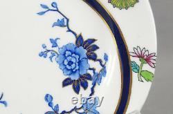 Set of 6 Royal Worcester B315 Cobalt & Multicolor Aesthetic Dessert Plates 1878