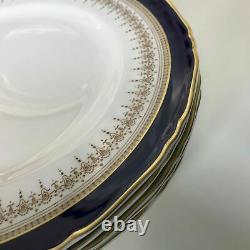 Set of 6 Royal Worcester Regency Cobalt Blue Regency Pattern Dinner Plates 10.75