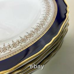 Set of 6 Royal Worcester Regency Cobalt Blue Regency Pattern Luncheon Plates 9.2
