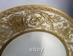 Set of 7 Royal Worcester EMBASSY 8 Salad Plates-White Rim, Gold Filigree