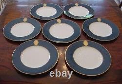 Set of 7 Superb Vintage Lapis Gold & Ivory Royal Worcester Dinner Plates