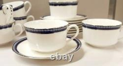 Set of 8 Cups and Saucers Royal Worcester Avalon Firenze Platinum Rim Bone China