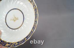 Set of 8 Flight Worcester Cobalt Blue & Gold Thistle Tea Cups Circa 1783 1807