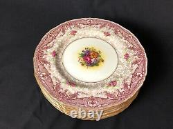 Set of 8 Royal Worcester England 10&5/8 Dinner Plates Macys N. Y. Floral Center