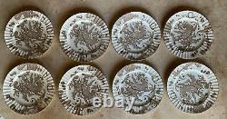Set of 8 Royal Worcester Sorrel Dragon Dinner Plates