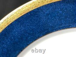 Set of 9 Royal Worcester 10&3/8Dinner Plates 1&1/2 Blue Band Shreve & Co