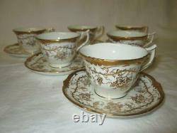 Set of Six (6) Cauldon Kings Plate White Gilt Grape & Vine Coffee Cans & Saucers