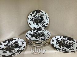 Set of Twelve (12) Royal Worcester Black WithGold Dragon 10.5 Dinner Plates EUC