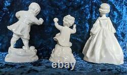 Set of three Exquisite Royal Worcester Blanc de Chine Porcelain Figurines