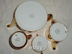 Stunning Vintage Royal Worcester 4-Piece Tea Set, Gold Tone