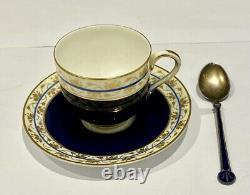 Superb Antique Royal Worcester Cup & Saucer Set Cased Silver & Enamel Spoons