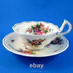 Unusual Handle Floral Bouquet Roseland Royal Worcester Tea Cup and Saucer Set