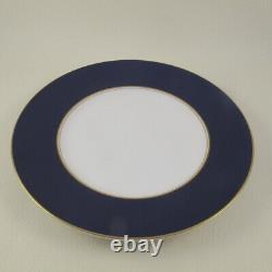 VENTURA by ROYAL WORCESTER England Cobalt Blue Gold Set of 12 Salad Plates