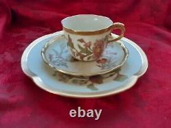 Vintage Antique 1889-1890 Blush Ivory Floral And Gold Royal Worcester 3 PC SET