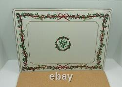 Vintage Discontinued Royal Worcester Holly Ribbon Rectangular Placemats set of 4
