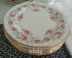 Vintage Royal Osborne Bone China High Tea Set for 6 White/Pink Roses/Gold Trim