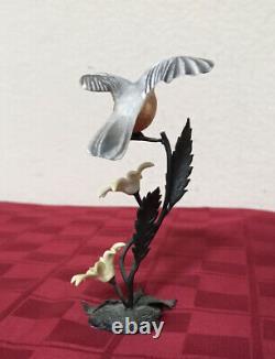Vintage Royal Worcester Birds Porcelain Bronze Barn Swallow & Chickadee Set 6