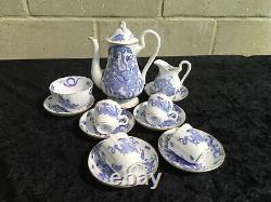 Vintage Royal Worcester Blue Dragon Trio. Early 1940's Fine China, Coffee Set