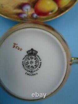 Vintage Royal Worcester Cup & Saucer Set Signed Artwork Bone China